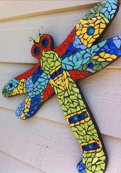 Dragonfly Mosaic Garden Art Wall Hanging 16 by PiecebyPieceMosaic, $40.00