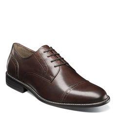 Nunn Bush Men's Sparta Medium/Wide Cap Toe Oxford Shoes (Brown Leather)