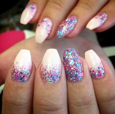 birthday nails - Multi Glitter Gel Manicure for Glitter Nail Design Idea - Manicure Gel, Diy Nails, Cute Nails, Glitter Manicure, Manicure Simple, Gel Manicure Designs, Glitter Eyeshadow, Manicures, Holiday Nail Designs