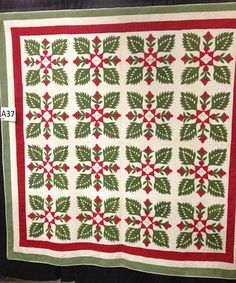 Pennsylvania Green Leaf, c. 1870, collection of Sharon Waddell, pictures from Vermont Quilt Festival - lots of great ones here!
