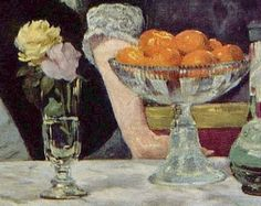 Throughout the history of art oranges and roses have always had further connotations.  Oranges implying a sense of wealth and generosity which is representing the rich, upper class at the Folies-Bergère. Roses symbolising love and purity which acts ironically as the barmaid could potentially be posing as a prostitute.