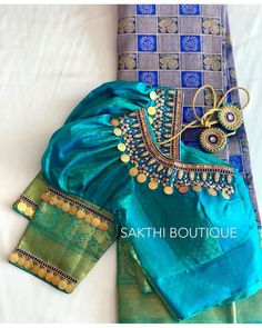 Blouse Designs High Neck, Kids Blouse Designs, Fancy Blouse Designs, Wedding Saree Blouse Designs, Pattu Saree Blouse Designs, Stylish Blouse Design, Puff Sleeves, Instagram, Blouses
