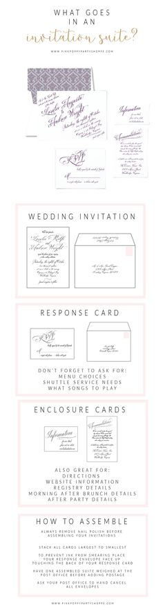 While finding your perfect invitation may just seem like a check mark on your to do list, it is one of the most important details to set the entire tone of your wedding day. So what should you include in your invitation suite?