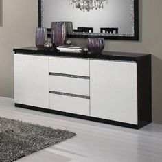 Regal Sideboard In Black And White With High Gloss Lacquer And Crystal Details With 2 Doors And 3 Drawers, Stunning And Fabulous Design, gives real charm to any living room or Dining Room. Dining Room Sideboard, Large Sideboard, Console, Shoe Storage Cabinet With Doors, Media Cabinet, Crystal Decor, Furniture Catalog, Dining Room Design, Living Room Modern