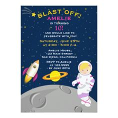Outer Space Astronaut  Birthday Party Invitation Custom Announcements