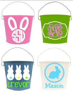 Items similar to Personalized Easter Bucket Pail Basket on Etsy Easter Projects, Easter Crafts, Easter Ideas, Custom Easter Baskets, Easter Buckets, Diy Ostern, Hoppy Easter, Cricut Creations, Vinyl Crafts