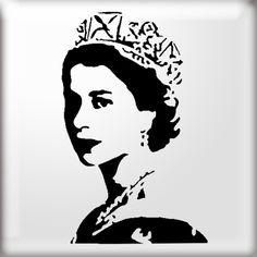 Young Queen Elizabeth stencil from The Stencil Studio online shop
