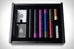 Dunhill Poker Set, for a Man's Man set of poker cards, chips, and dice for this Texas Hold'em games - $700