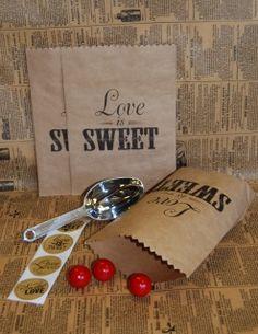 """Brown Kraft candy buffet bags.  Printed """"Love is Sweet"""" Jilly Bean Kids www.jillybeankids.com"""