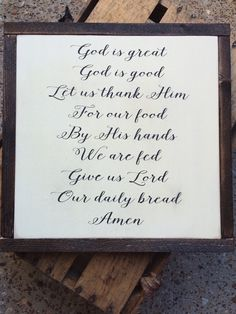 God is great sign, dinner prayer sign, dining room sign, wood kitchen sign, rustic kitchen, farmhouse decor, framed wood sign, rustic decor by TheWoodenElephantCo on Etsy https://www.etsy.com/listing/261475109/god-is-great-sign-dinner-prayer-sign