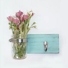 Cottage Chic Wall Flower Vase 1 Hook- Key Holder- Spa Blue - Towel Hook- Country Chic- Shabby- Country Decor- Choose From Many Colors