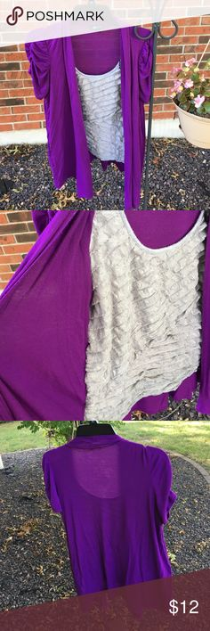 Purple Reign!!! This fantastic 2 in 1 top looks like a tank and cardigan, but it's all 1 piece :). Silver ruffles are striking against the purple overlay!  Sheer perfection AB Studio Tops Blouses