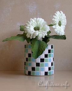 Recycling Craft - Mosaic Tin Can Flower Pot - could make my own tiles out of polymer clay.