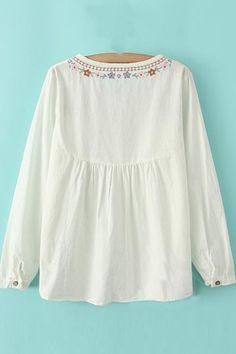 Vintage Шитье Шея свободная блуза