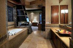 Bathroom, fireplace, bedroom.
