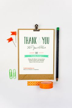 Thank you for your order card printable. Instantly download, customize and begin printing within minutes!