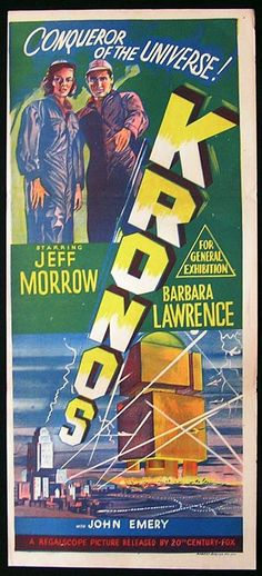 Kronos (1957) As a young boy in the early 1960s, I remember watching two black and white science fiction films which made such an impact on me that I still vividly recall them after all these years. One was called Kronos and the other was The Monolith Monsters, both made in 1957.  http://scififilmfiesta.blogspot.com.au/2016/03/kronos-1957.html