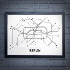 Berlin Lineposter Lithograph Black/White by lineposters on Etsy