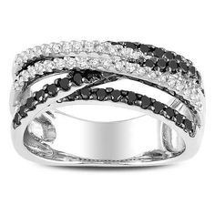 Miadora Sterling Silver 3/5ct TDW Black and White Diamond Ring (G-H, I2-I3) (Size 9.5), Women's