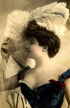 ANTIQUE Beautiful Woman DOWNLOAD Photo Dancer Cabaret - Instant DIGITAL Print - Lady Fan Frameable Junk Journal Altered Art To Frame no1372