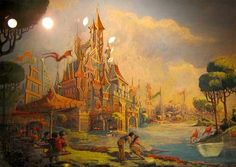 Concept painting for the castle at Hong Kong Disneyland by Imagineer Karen Armitage