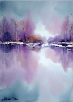 winter lake in purple and blue