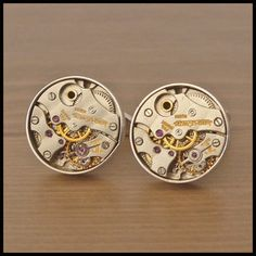 JAEGER LE-COULTRE Watch Movement Cufflinks Set In Solid Sterling Silver Settings - FREE INSURED SHIPPING WORLDWIDE - £1,250