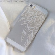 "milkyway - Clear Plastic Case Cover for iPhone 6 (4.7"") Henna Abstract Feathers t"