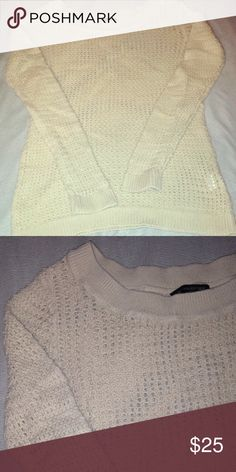 Banana Republic sweater Cream colored (looks slightly darker in person) open weave, long sleeves, scoop neck Banana Republic Sweaters Crew & Scoop Necks