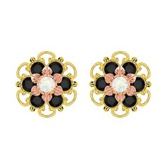 Lucia Costin Gold Over Silver White and Black Stud Earrings