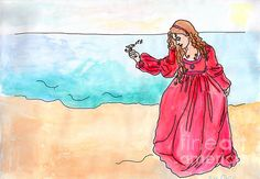 """Illustration Artwork for sale: """"Girl and Singing Fish"""" by Debbie Davidsohn - Customize your own prints using various colored matting and beautiful designer frames. Order posters, prints, metal prints, and more."""