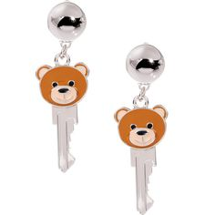 Moschino Teddy Earrings (10,520 THB) ❤ liked on Polyvore featuring jewelry, earrings, teddy bear earrings, earring jewelry, silver jewellery, moschino and silver jewelry