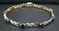 """GOLD OVER 925 STERLING SILVER 7.25"""" TENNIS BRACELET 10g SAPPHIRE DIAMOND ACCENT…"""