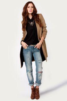 Peekaboo Chic Mid-Length Brown Coat at LuLus.com!