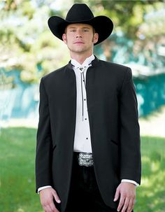 No Button Mirage Western Cowboy Tuxedo in Black. All you need is to put on a hat, and throw on your bolo tie and you'll be good to go! Pants come 6 inches smaller than jacket, and can adjust 2 inches out or 4 inches in. #PromTuxedo #Tuxedo #BlackTuxedo #WeddingTuxedo #PromTux #WeddingTux #Tux #Wedding #Prom