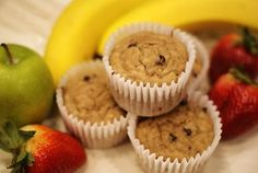 healthy banana chocolate chip muffins.