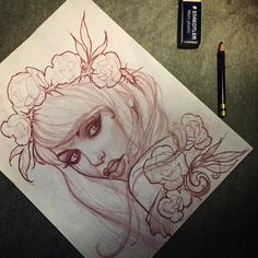 Red pencil sketch by Jeff Norton : Original Art Tattoo Sketches, Tattoo Drawings, Art Sketches, Art Drawings, Sketch Drawing, Pencil Art, Red Pencil, 1 Tattoo, Tattoo Illustration