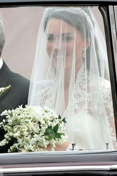 Kate Middleton on her way to her wedding to Prince William when she would then be Princess Kate, Duchess of Cambridge.