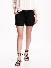 Cuffed Linen Shorts for Women (4