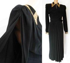 RARE Vintage 1940s WWII Crepe Black & Gold Hourglass Cocktail Dress by Max Kopp #DesignerMaxKopp