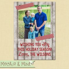 Rustic White Wood Photo Christmas Card by MochaAndMint