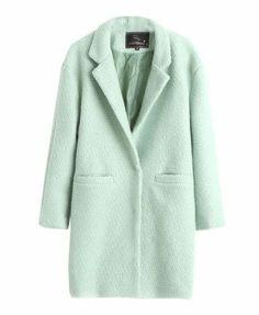 Green Lapel Woollen Coat