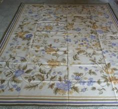9'x12' Hand-woven Wool Roses French Aubusson Flat Weave Rug~New~Free Shipping