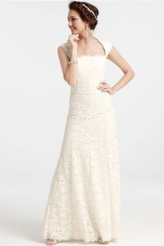 Under-$1K Wedding Dresses That Don't Look Cheap  #refinery29  http://www.refinery29.com/affordable-wedding-dresses#slide-29  The square neckline creates a romantic, open décolletage — a very flattering look.