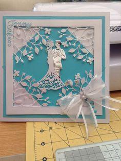 Wedding card, using spellbinders grand squares, memory box corner die, cottage cutz bride and groom,