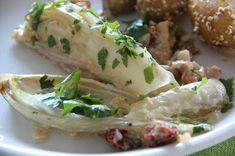 Kirschbiene kocht: Chicorée in Sahnesoße mit Sesamkartoffeln