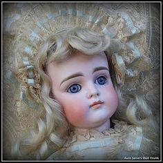 "Lovely German Early Kestner Closed Mouth Pouty XI Blue Eyes 16"" - Aunt Janie's Doll Trunk #dollshopsunited"
