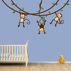 Hanging Monkey Vine Decal, Monkey Decal, Wall Decal for Boy Room or Nursery by Jennifer McCully
