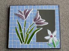 mosaico - moldura azul com flores