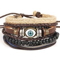 New Fashion Bead Leather Bracelets & bangles for Women pcs 1 Set Multilayer Wristband Bracelet Men Pulseiras dropshiping - MAKE-UP ARTIST Stackable Bracelets, Bracelets For Men, Bangle Bracelets, Leather Bracelets, Hippie Bracelets, Wood Bracelet, Bracelet Charms, Copper Bracelet, Link Bracelets
